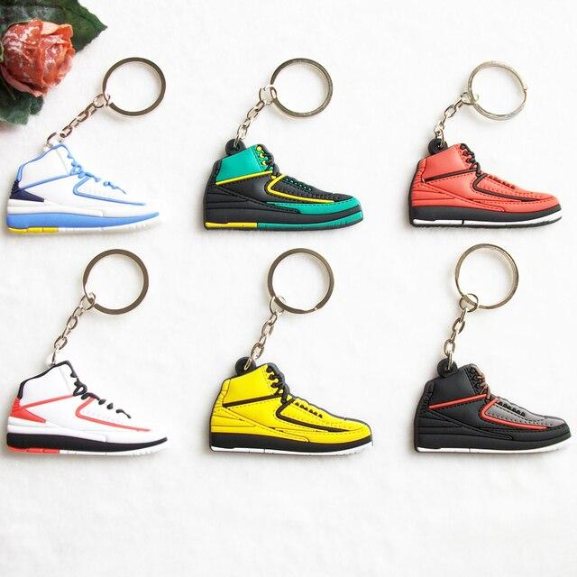 Mini Silicone Sneaker Jordan 2 Keychain Key Chain Shoes Car Key Holder  Woman Men Bag Charm Accessories Key Rings Pendant Gifts f93f0e450d1e