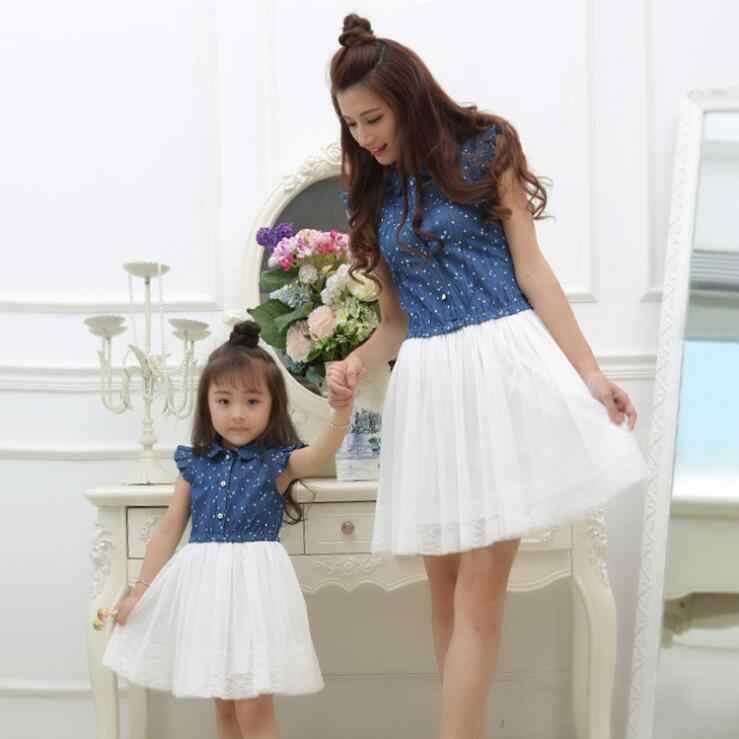 Сетчатое джинсовое платье «Мама и я», одинаковые комплекты для мамы и дочки, семейный стиль, платья для мамы и дочки, одежда в горошек