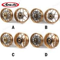 Arashi 1 Set Front Rear Wheel Rim For HONDA CBR600RR 2007 2017 Brake Discs Rotors CBR600 CBR 600 RR 2007 2008 2009 Wheel Rims