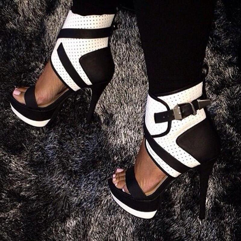 Sandales blanc 34 Taille Nouveau Chaussures Cheville Dames La À Aiguille gris Pu Livraison Bride Noir 45 Talons Shofoo Sexy Chaussures Gratuite Hauts 2016 PqUUTB