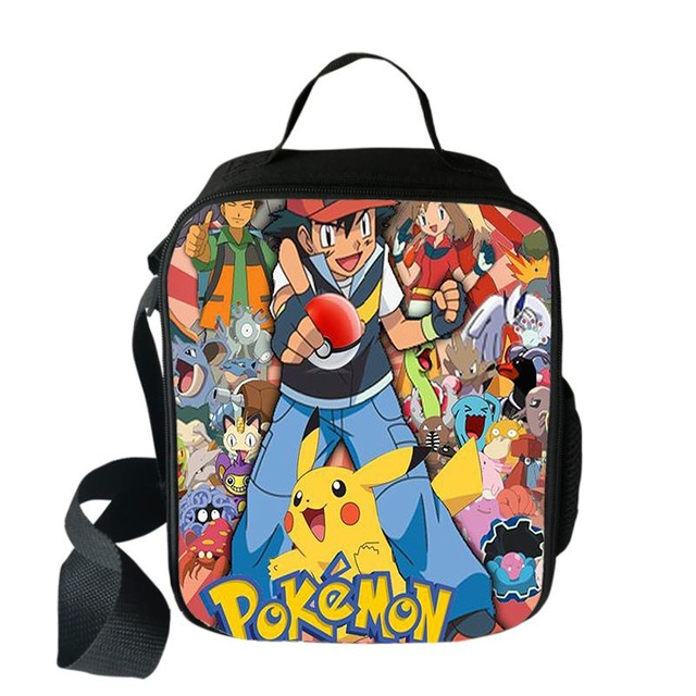 Pokemon Haunter Eevee Cooler Lunch Bag Cartoon Girls Portable Thermal Food Picnic Bags For School Kids Boys Lunch Box Tote