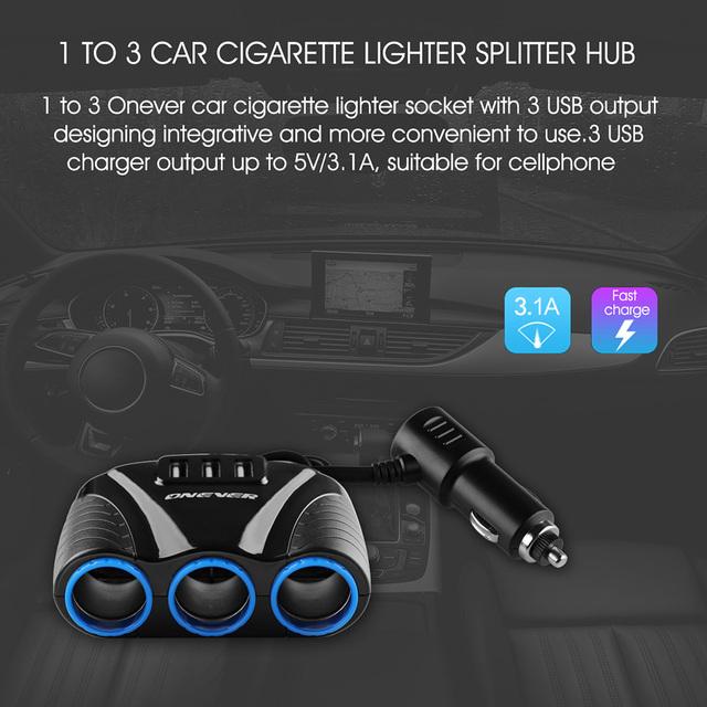 3 USB Port 3 Way 3.1A Blue Led Car Cigarette Lighter Socket Splitter Hub Power Adapter 12V-24V  For  iPad Smartphone DVR GPS