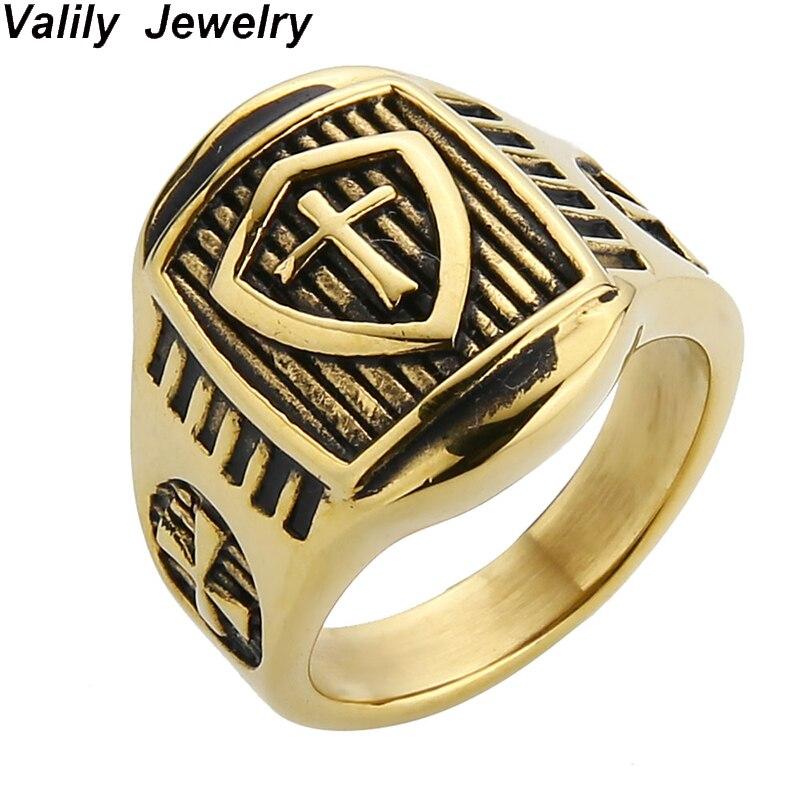 b1fe282e7f0b EdgLifU hombre Cruz anillo de acero inoxidable oro color moda banda dedo  anillos Punk Biker Hiphop anillo de joyería para hombres y mujeres