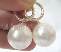 Hot sale Free Shipping>>>>>>>>16mm perfect round white sea shell pearl earring-