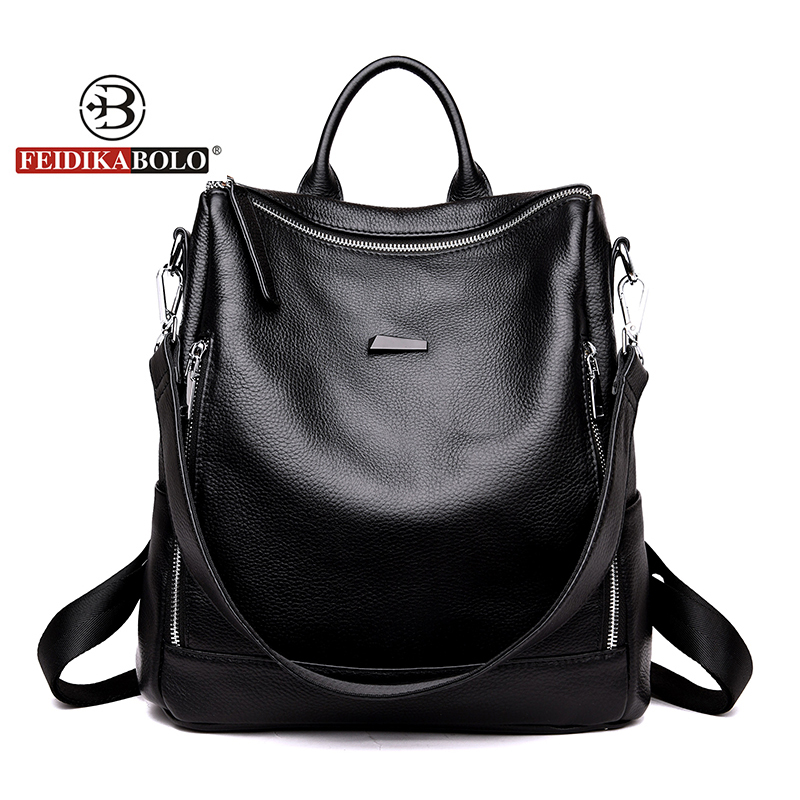 Fashion Genuine Leather Women Backpack Satchel Rucksack Preppy Style Women School Bag Girl Travel Bags Multipurpose Shouler Bag aelicy luxury pu leather backpack women preppy style school bags women rucksack travel satchel bags mochila feminina women bag