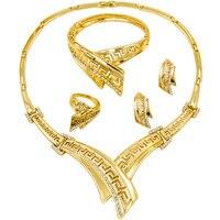 Liffly 2018 New African Projektowania Mody Złota Biżuteria Panny Młodej Kryształ Charm Naszyjnik Bransoletka Zestawy Biżuterii Ślubne Nigerii Kobiet