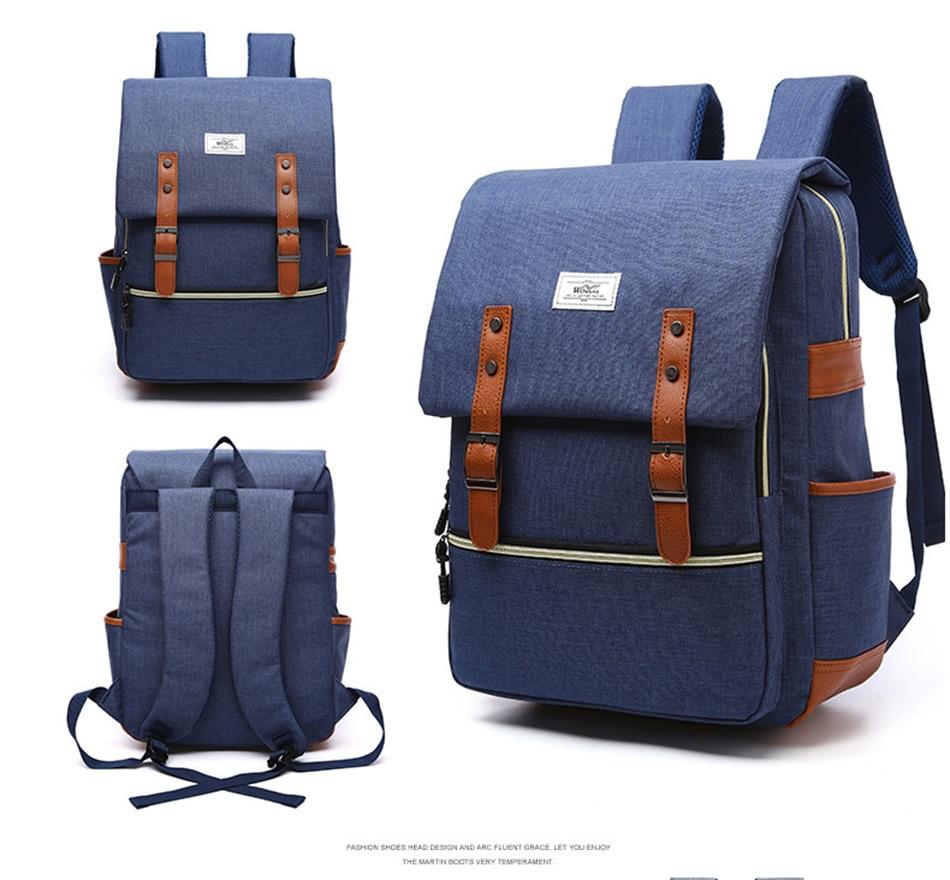 2018 Vintage Men Women Canvas Backpacks School Bags for Teenager Boys Girls Laptop Backpack with USB Charging Fashion Travel Bag (17)