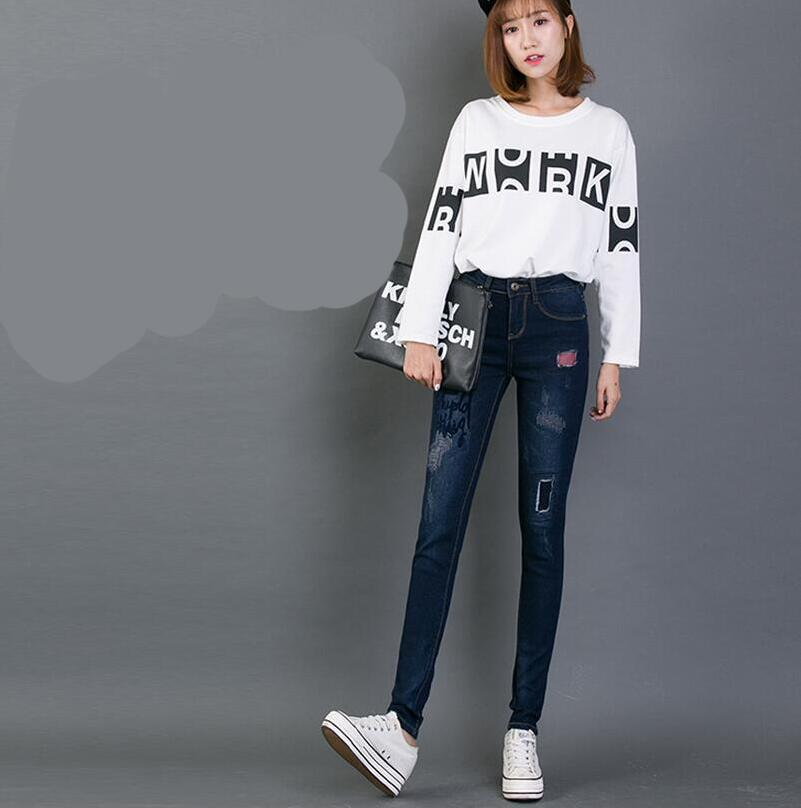 2017 Spring Letter Print Jeans Women Full Length Trousers Skinny Ripped Patch Denim Pants New Fashion