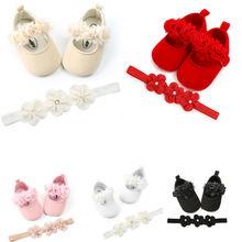 Комплект одежды для новорожденных мальчиков и девочек обруч и туфли для младенцев 2 шт. с цветами кружевное платье трапециевидной формы в мягкая подошва обуви