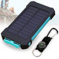 Wopow 10000mAh Solar Power Bank Dual USB Outdoors Emergency External Battery With LED Lighting Compass Power