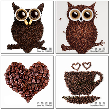 hot deal buy 5d diy diamond painting coffee bean wholesale diy diamond painting home decoration owl wall stickers embroidery needlework