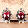 Red Zircon Earring 925 Silver Women Synthetic Ruby Blue Red Corundum S925 Thai Sterling Silver boucle d'oreille Stud Earrings