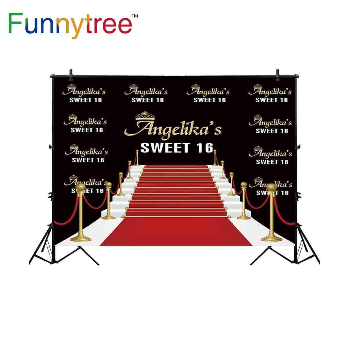 Funnytree backgrounds photography studio Signature wall red carpet birthday custom stairs luxury professional backdrop photocall