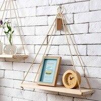 Nordic simples decoração da parede de madeira maciça sling corda rack vaso de flores rack de armazenamento nordic placa pendurado ornamentos