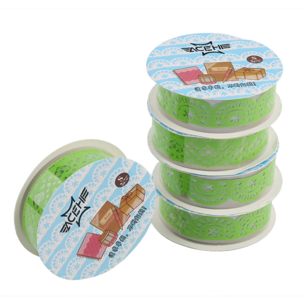 ACEHE 5 Pieces Lace Hollow Up Adhesive Masking Tapes Decorative Stickers 1.8X100mm