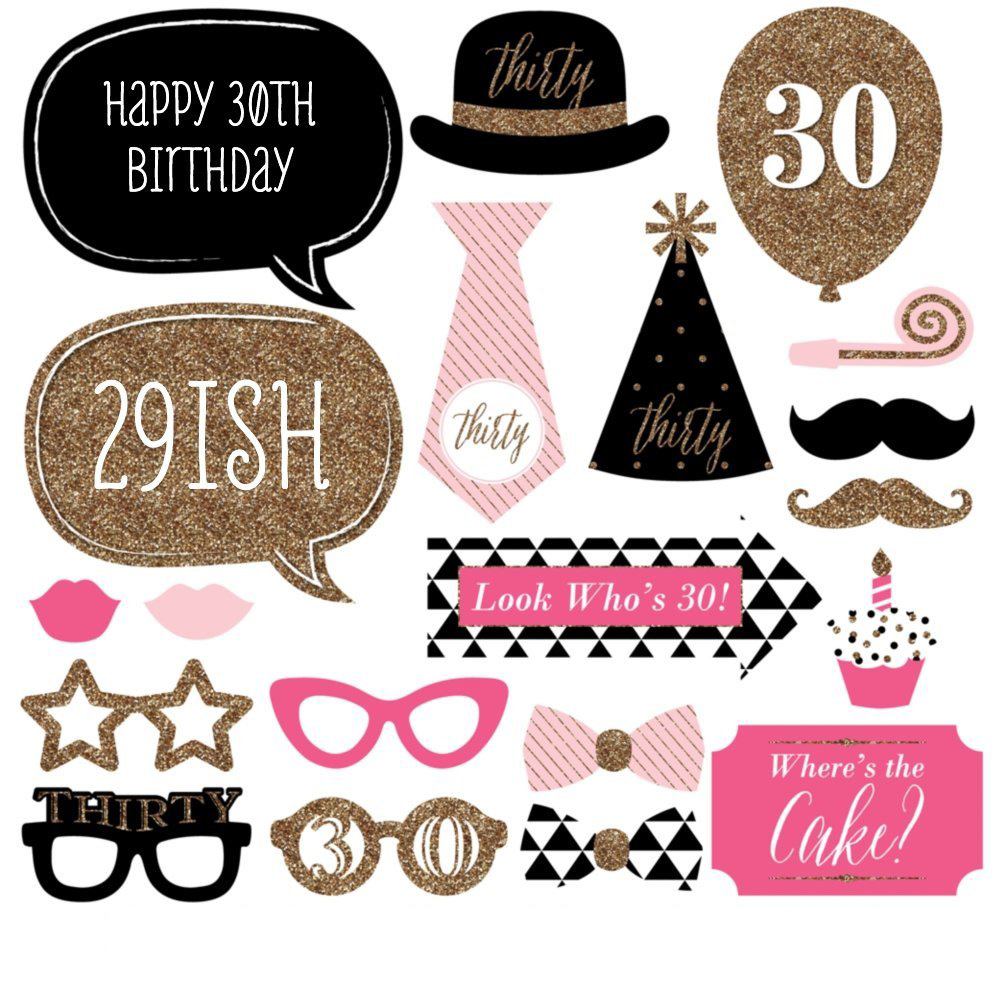 20pcs Set Hot Sale Womens 30th Happy Birthday Photo Booth Props DIY Photobooth Kits Fun Party Favor Gifts With Sticks