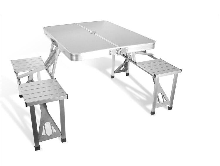 Bureau de pique-nique de pli d'alliage d'aluminium portatif de meubles extérieurs avec quatre sièges offre spéciale chaise occasionnelle de plage de table, chaise de loisirs