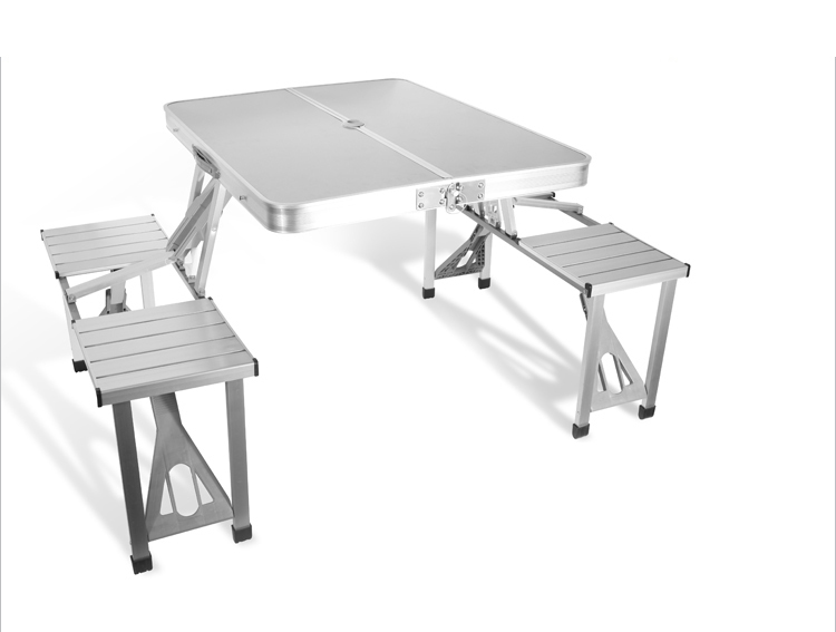 outdoor furniture portable aluminium alloy fold picnic desk with four seats hot sale occasional table beach chair leisure chair - Folding Table And Chairs