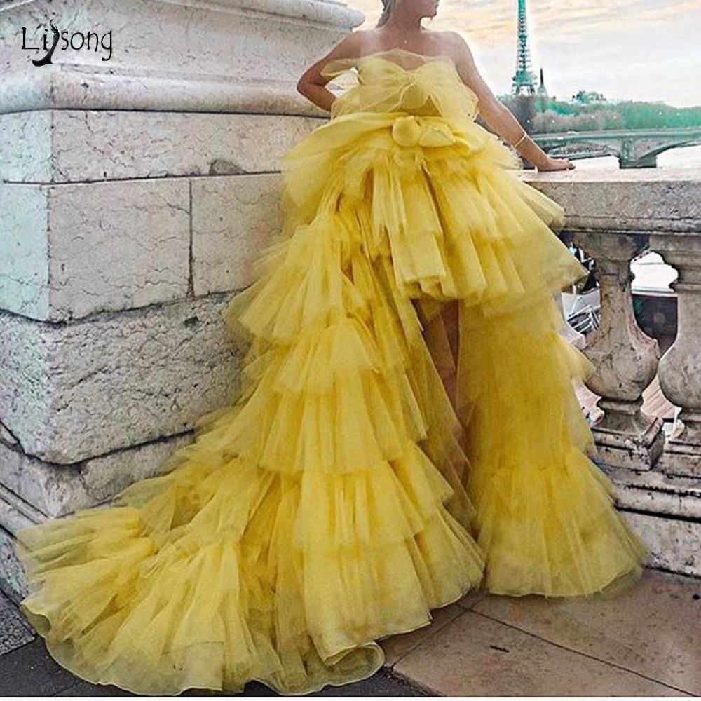 Fashion Yellow Tutu Tiered High Low Evening Dresses Puffy Riched Tulle Prom Gowns Off The Shoulder
