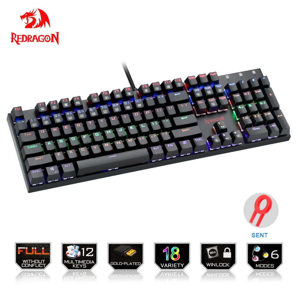 Redragon K565 Rainbow USB Mechanical Gaming Keyboard Aluminum Blue Switch Ergonomic Led Backlit 104 Keys Wired