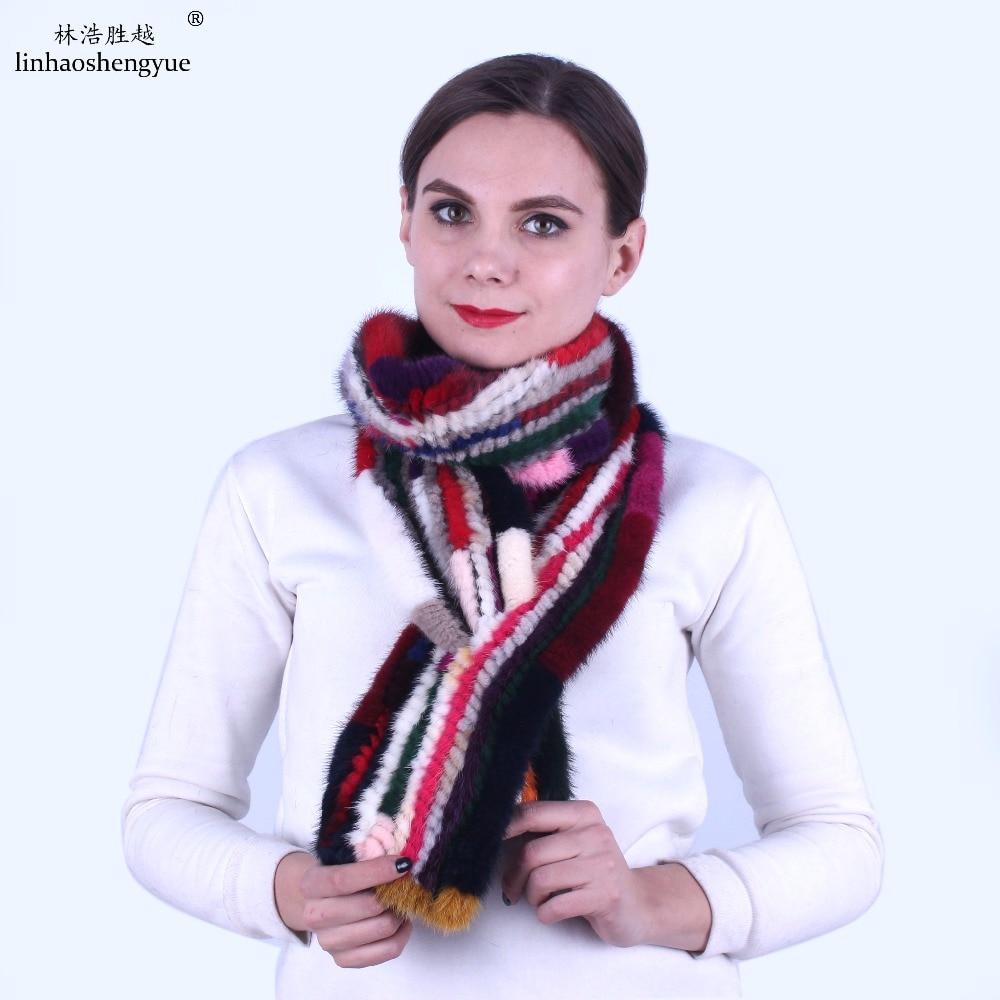 Linhaoshengyue  fashion mink fur women long scarf   Real mink fur scarf