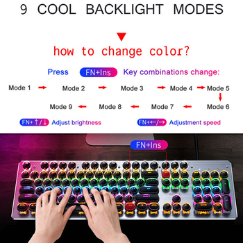 Gaming Mechanical Keyboard USB Wired Anti-ghosting Metal Panel Colorful Backlight Keyboard Crystal Plating Keys Russian Sticker 5
