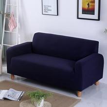 Dark Blue Sofa Cover For Living Room Stretch Big Elasticity Solid Pure  Color Sectional Slipcovers Fundas
