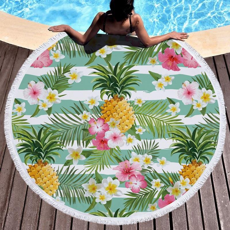 Urijk Pineapple Round Beach Towel With Tassel Flamingo Large Blanket Picnic Yoga Mat travel Boho Tablecloth toalla de playa