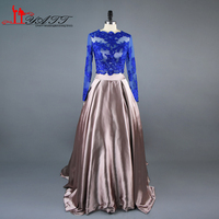 2017 Real Photo Amazing Two Pieces Royal Blue Long Sleeves Cheap Africa High Quality Amazing Charming Prom Evening Dress LIYATT