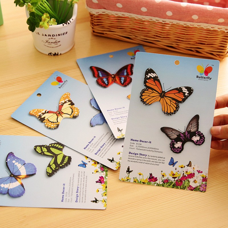 4 pcs/lot kawaii Colorful butterfly memo pad cute post it notes bookmark Creative stickers for home office school supplies