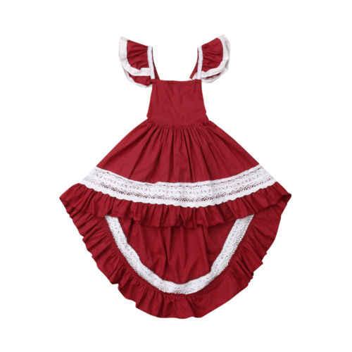 Платье для маленьких девочек Дети с оборками для девочек кружевное платье без рукавов вечерние Праздничное платье Рождественский Размеры на 1—6 л.