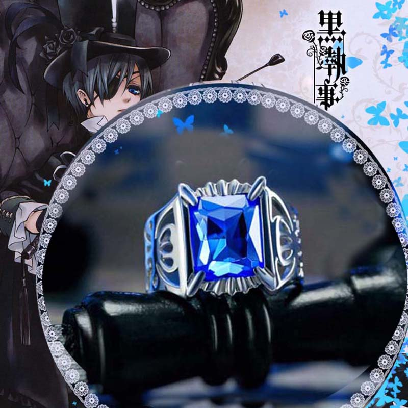 Anime noir majordome anneau réglable kuroshisuji Sebastian Michaelis Ciel S925 Sterling anneaux pour hommes femmes bijoux livraison directe