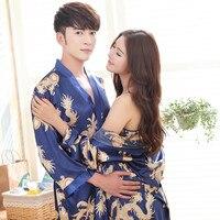 Couple Women Summer Silk Dragon Print Kimono Bathrobe Gown Robe Dress Lovers Yukata Nightwear Pijama Sleepwear Plus Size XXXL