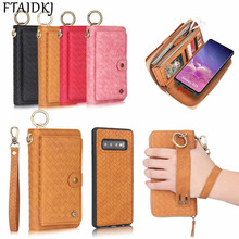 Multifunction Woven Pattern Leather Zipper Lady Wallet Case For Samsung Galaxy S10e S8 S9 Note 8 9 10 Pro S10 Plus Purse Handbag multifunction woven pattern zipper wallet case for samsung note 10 8 9 s8 s9 s10 plus s10e for iphone xs max xr x 6 6s 7 8 plus