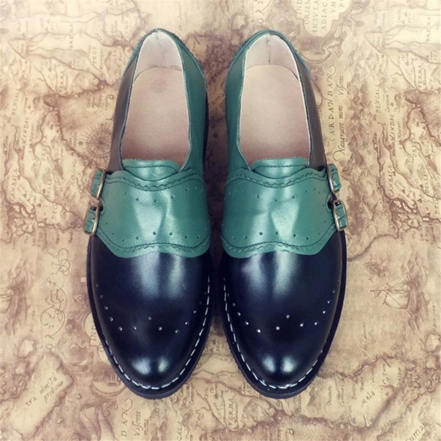 Ayakk.'ten Erkek Rahat Ayakkabılar'de Erkek hakiki deri oxford ayakkabı erkek daireler el yapımı vintage retro toka mokasen kahverengi gündelik ayakkabı düz ayakkabı erkekler için'da  Grup 1