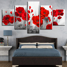 Canvas Printed Pictures Living Room Wall Art Framework 5 Pieces Romantic Poppies Paintings Red Flowers Poster Modular Home Decor(China)