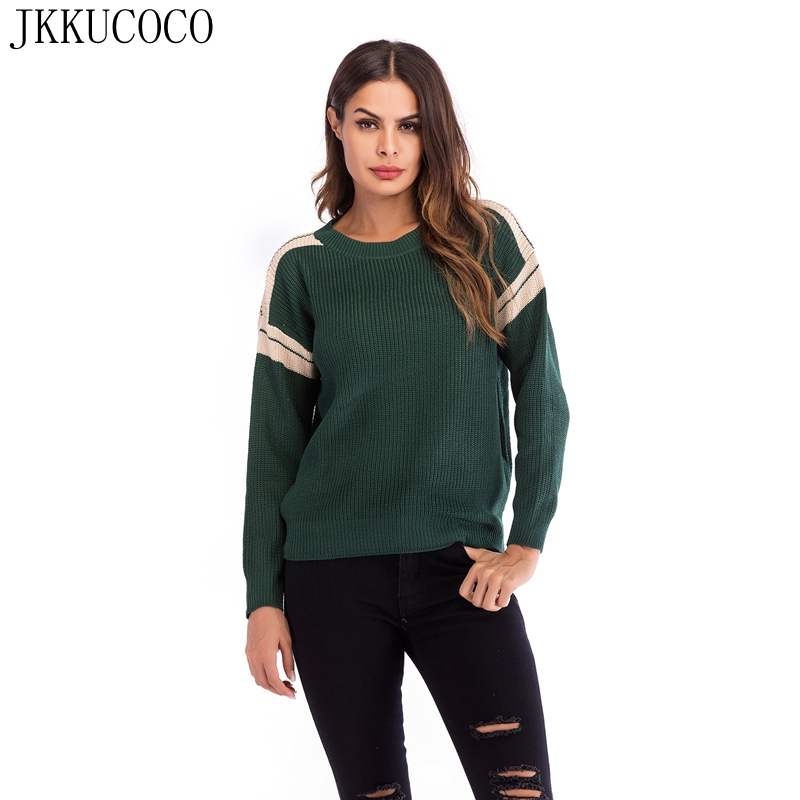 JKKUCOCO Newest Women Sweater Mix Color Shoulder Long Sleeve O neck Pullovers sweaters Women Cotton Knitted