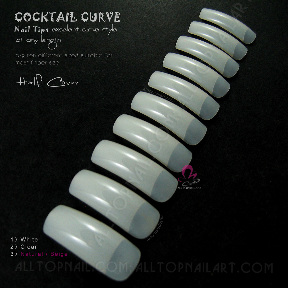 20000x Deep C Curve Nail Tips Half Cover French Tapered Natural ...