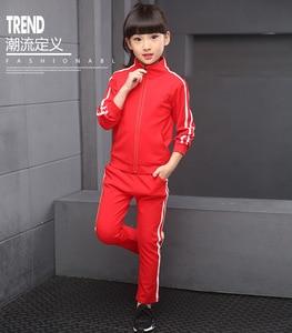 Image 3 - Teenager Boys Clothing Sport Suit Kids Girls Clothing Set Zipper Jacket+Long Pant 2PCS Striped Children Tracksuit Set for 4 16Y