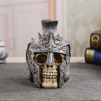 MRZOOT Resin Craft Home Decorations Skeleton Skull Model Punk Style Decoration Wears Helmet Spartan Warrior Props