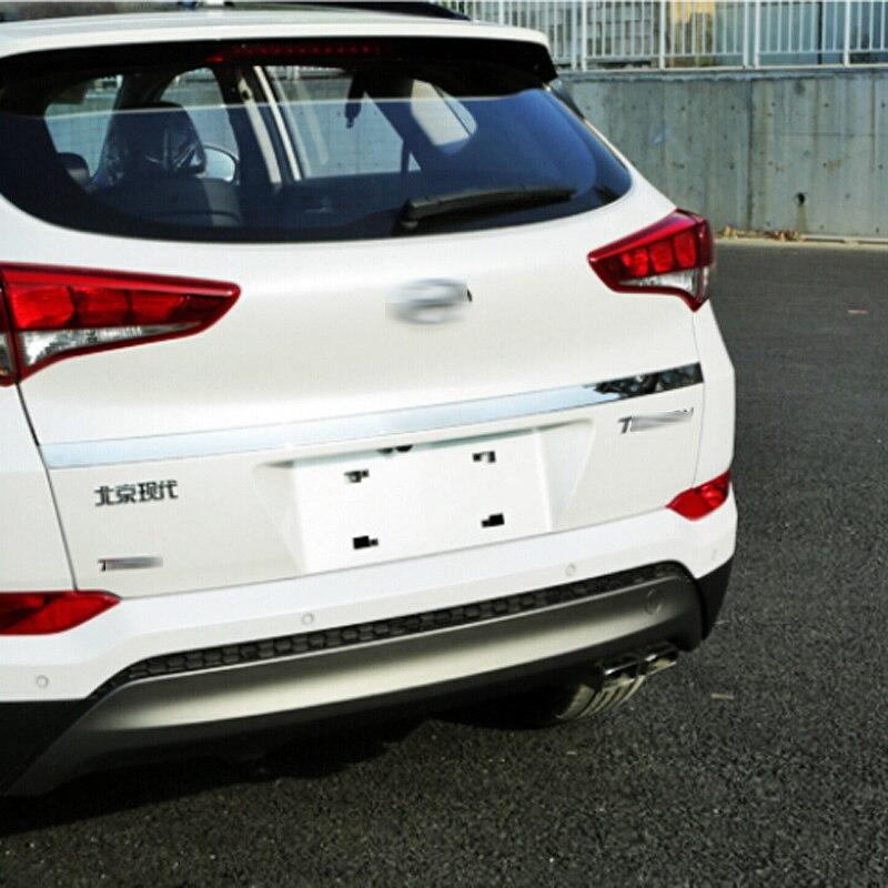 Prix pour Fit Pour Hyundai Tucson 2016 2017 Externe Accessoire En Acier Inoxydable Arrière Porte parure Streamer Queue Tronc Couvercle Cover Version