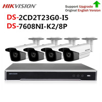 Original Hikvision CCTV Samera Security System Kit NVR DS 7608NI K2/8P & 4pcs 2MP IP Camera DS 2CD2T23G0 I5 video surveillance