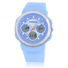 XONIX люксовый бренд Аналоговый Цифровой Двойной дисплей часы женщина, 2016 простые женщины одеваются часы, 100 М водонепроницаемый Gif наручные часы