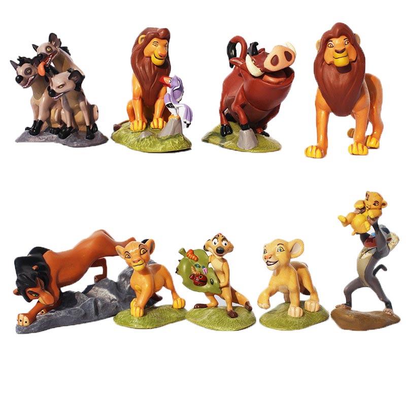 9Pcs/Set The Lion King Action Figures Simba Mufasa Nala Hyenas Timon Pumbaa Sarabi Sarafina Scar PVC Figure Model Toys 5~9cm король лев маленький симба