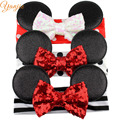 3pcs/lot Minnie Mickey Ears With 4'' Glitter Sequin Bow On Black/White/Red Stripe & Dot Headband For Girls Minnie Mouse Hairband
