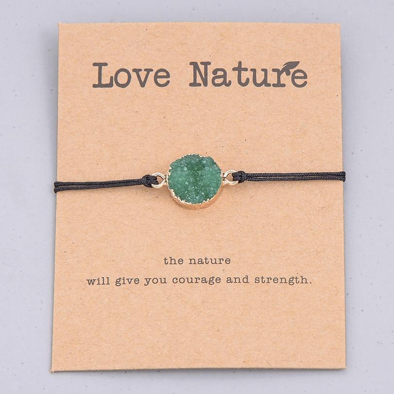 Этнические смолы кристалл каменный шарик браслет для мужчин женщин Мода Черная струна Плетеный Пара Браслеты Шарм ювелирные изделия - Окраска металла: green