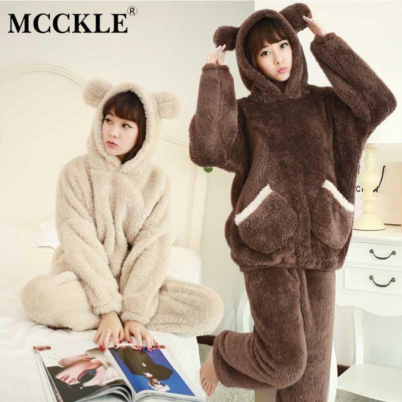 1bf272de90 MCCKLE Women s Animal Suit Plush Hooded Two-piece Pajama Set 2018 Autumn  Fashion Female Sleepwear