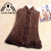 Роскошный вязаный жилет из натурального меха норки, женская зимняя верхняя одежда, большой размер 5XL, OEM/Розничная /
