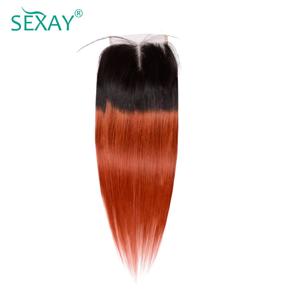 Sexay Ombre Brazilian Straight Hair Light Brown Lace Closures 2 Tone T1B/350 Orange Ombre Brazilian Human Hair Lace Closures