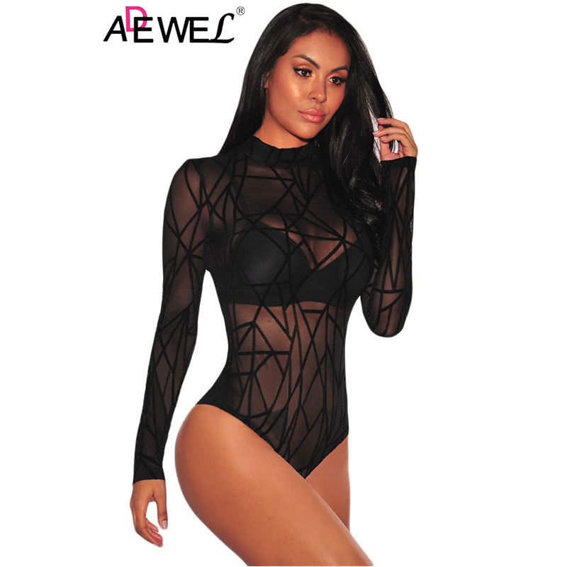 ADEWEL Night Club Sexy Women Bodysuit Black Sheer Mesh Long Sleeve Geometric Velvet Body Suit Combinaison Femme Jumpsuit Romper